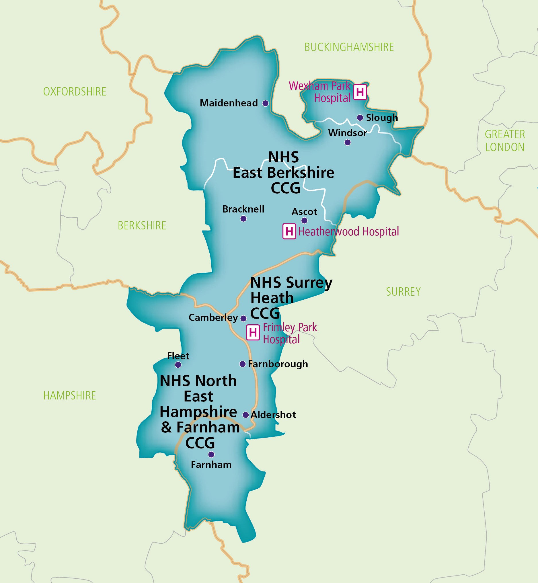 Frimley Health and care Map
